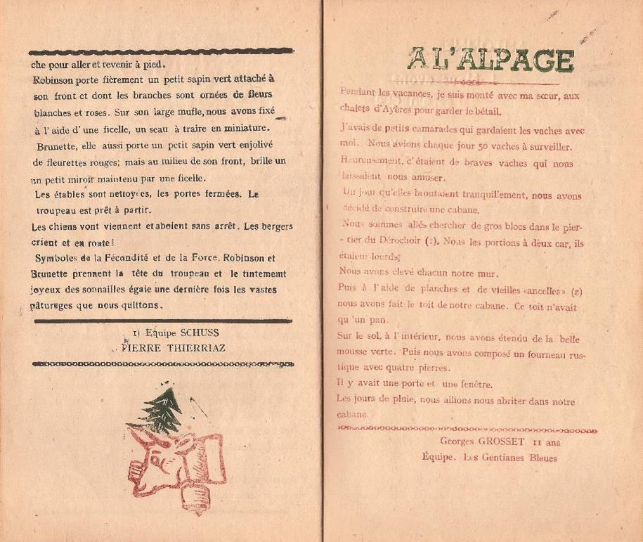"""Journal scolaire """"Face au Mont-Blanc"""", Passy, octobre 1947, p. 6 et 7"""