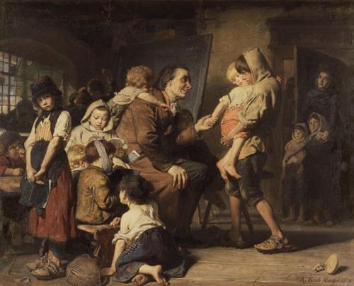 Pestalozzi chez les enfants d'orphelin à Stans, par Konrad Grob