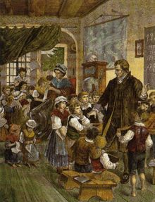 Pestalozzi et sa femme entourés de leurs élèves