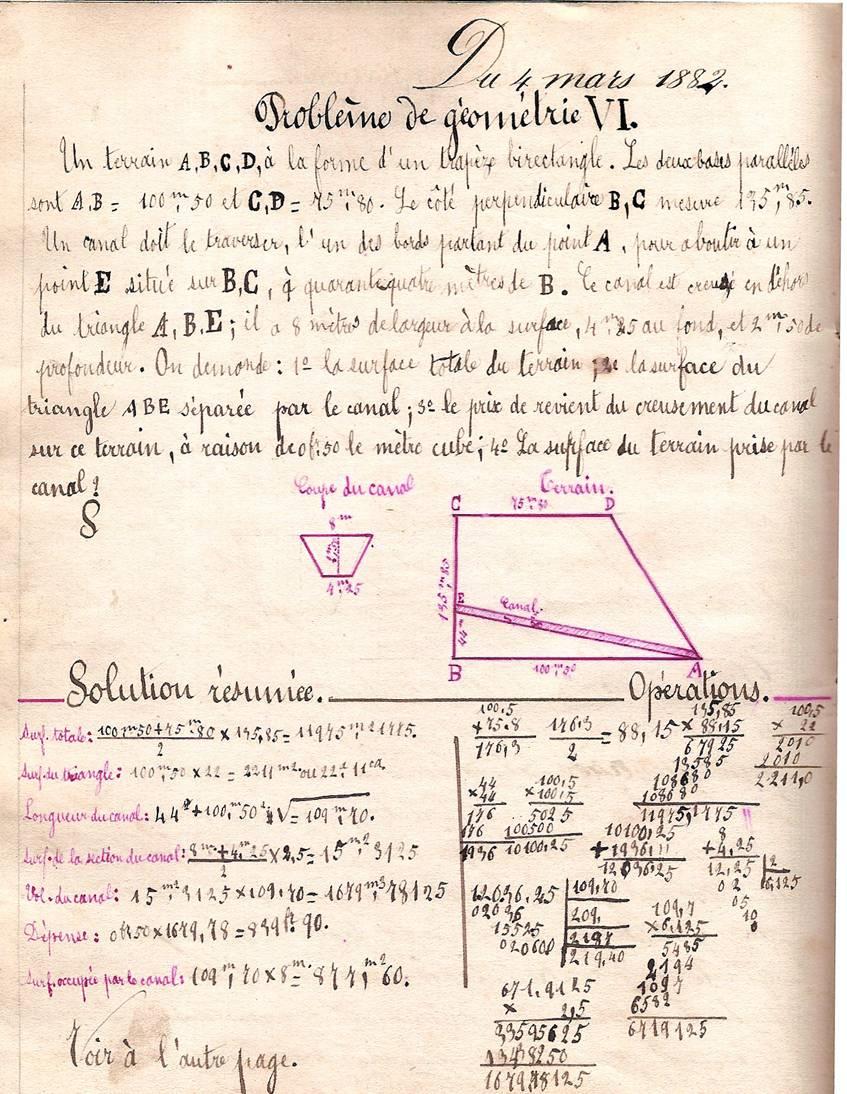 Cahier d'Eugène Delale, école de Passy, 4 mars 1882, p. 14, problème de géométrie VI