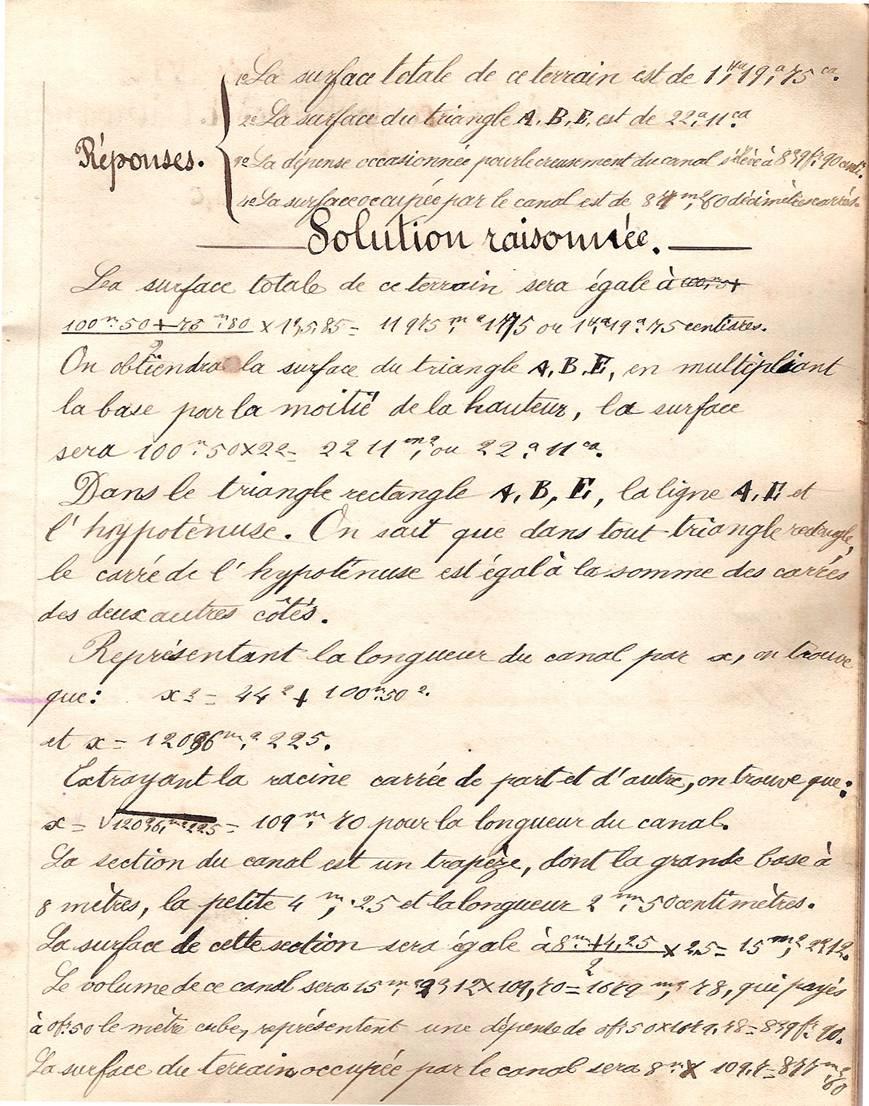 Cahier d'Eugène Delale, école de Passy, 4 mars 1882, p. 15, problème de géométrie VI (Coll. Jean Perroud)