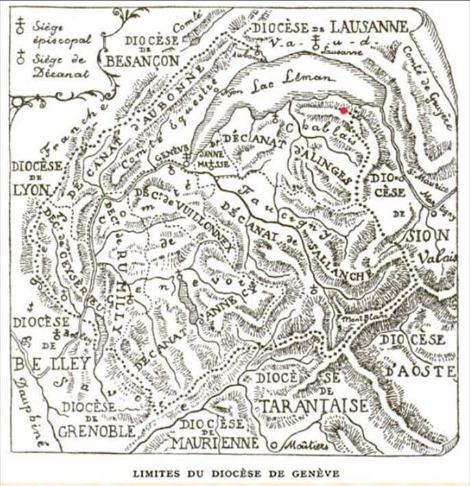 Carte du diocèse de Genève (Source : site Thollon)