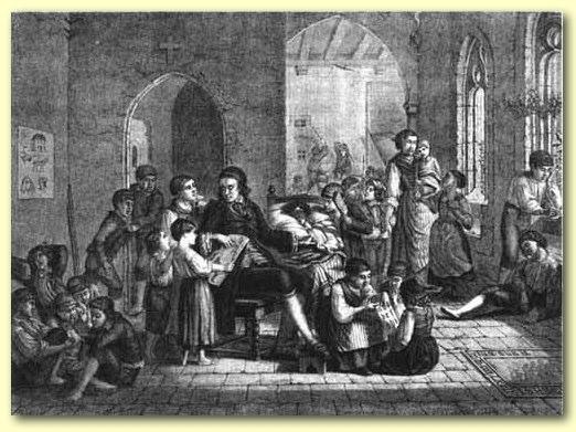 1799 : Pestalozzi et les orphelins de Stans ; commentaire de cette gravure ci-dessous (site Meirieu).