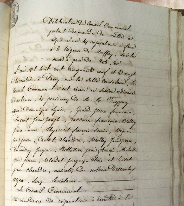 Délibération du Conseil de Passy en 1859