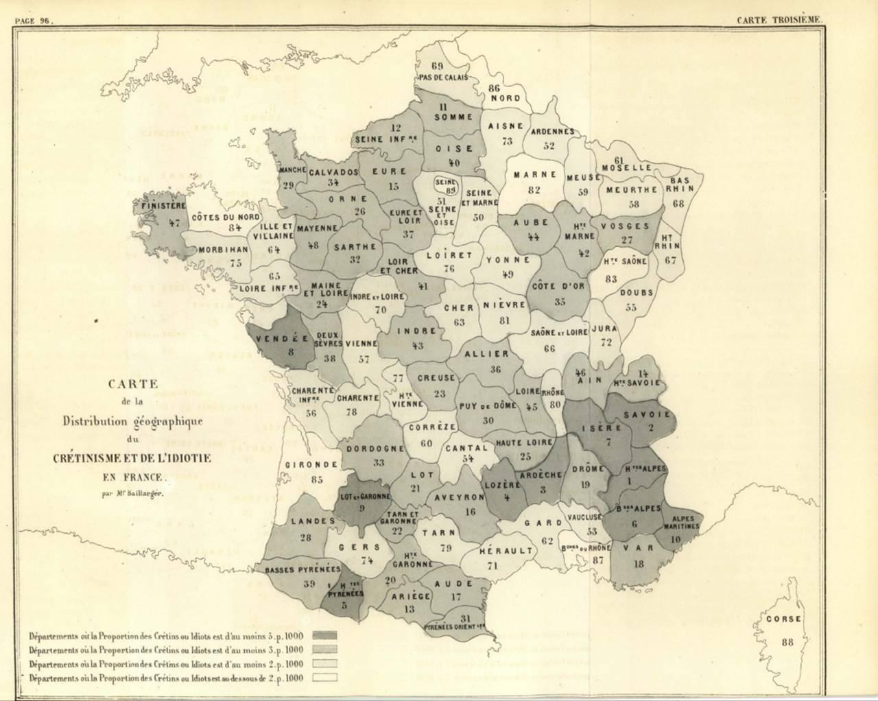 Carte de la distribution géographique du crétinisme et de l'idiotie en France (rapport  du Dr J. Baillarger, p. 96, 1873)