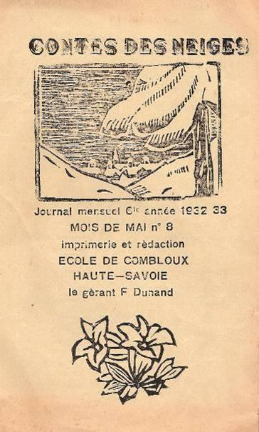 Couverture et dessin en linogravure choisi pour le journal scolaire de Combloux « Contes des neiges  » en 1927.