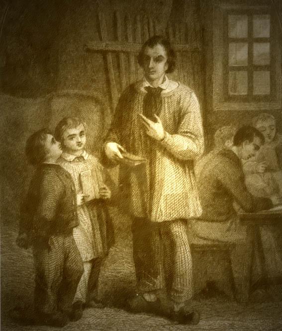 L'école des pauvres ; l'école était souvent installée dans une écurie : on voit à gauche la croupe d'une vache  (gravure anonyme vers 1840)