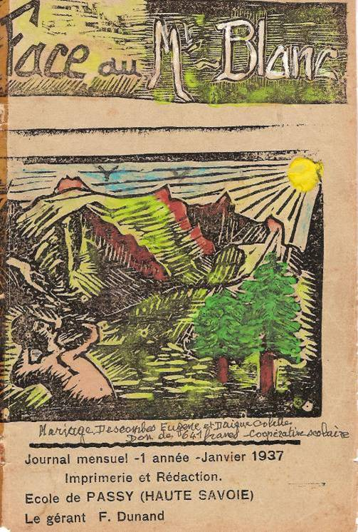 Couverture du journal scolaire de Passy « Face au Mont-Blanc » en linogravure coloriée, janvier 1937