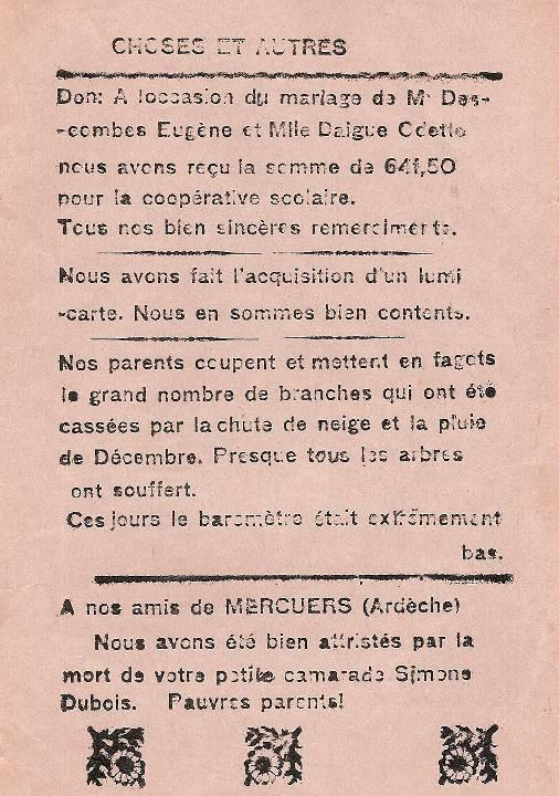 Journal scolaire de Passy « Face au Mont-Blanc », janvier 1937, p. 10 : Choses et autres (FIN)