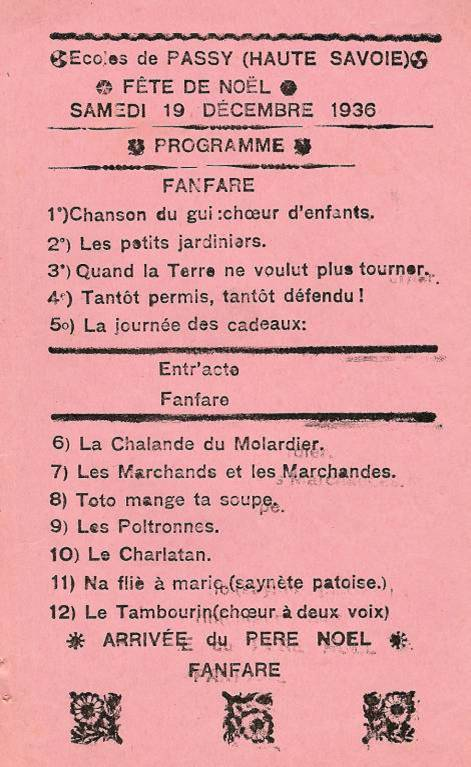 Journal scolaire de Passy « Face au Mont-Blanc », janvier 1937, p. 1 : Programme de la fête de Noël du 19 déc. 1936
