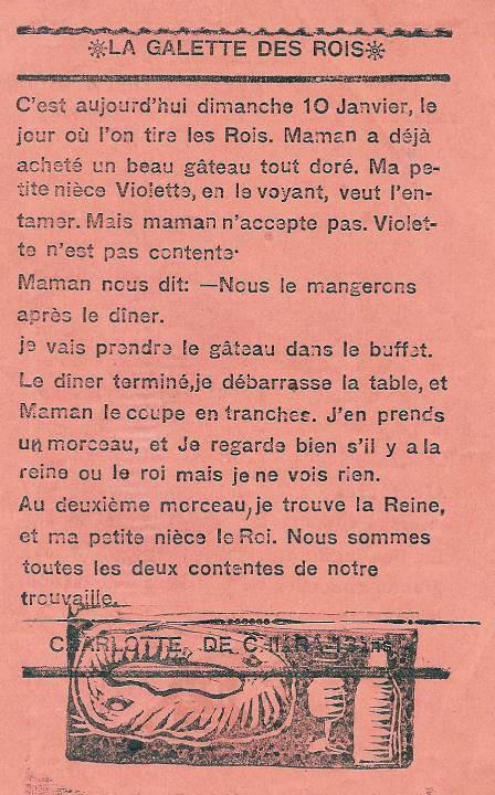 Journal scolaire de Passy « Face au Mont-Blanc », janvier 1937, p. 6 : La galette des rois, par Charlotte De Chiara