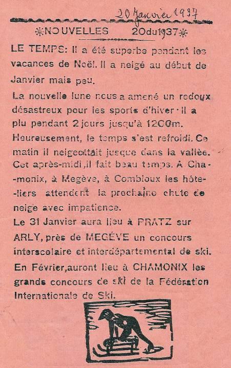 Journal scolaire de Passy « Face au Mont-Blanc », janvier 1937, p. 7 : Nouvelles du mois de janvier 1937