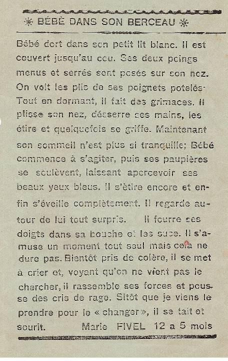 Journal scolaire de Passy « Face au Mont-Blanc », janvier 1937, p. 8 : Bébé dans son berceau, par Marie Fivel