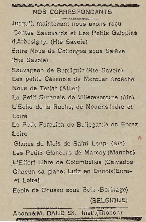 Journal scolaire de Passy « Face au Mont-Blanc », janvier 1937, p. 9 : Nos correspondants