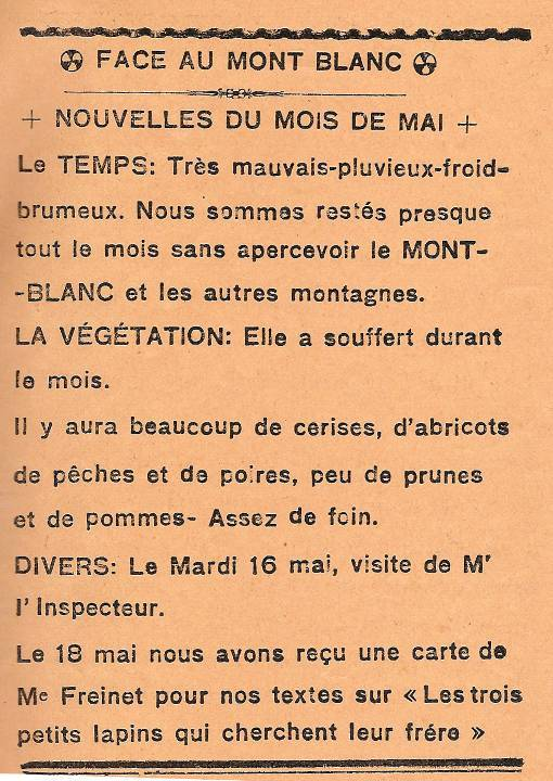 Journal scolaire de Passy « Face au Mont-Blanc », avril 1939, p. 9, Nouvelles du mois de mai »
