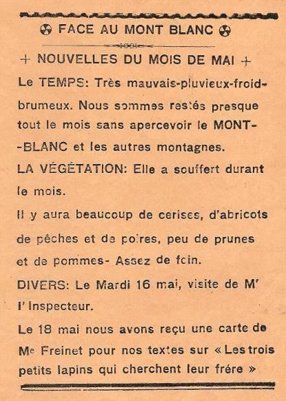 """Journal scolaire de Passy, """"Face au Mont-Blanc"""", mai 1939, page """"Nouvelles de mai"""""""