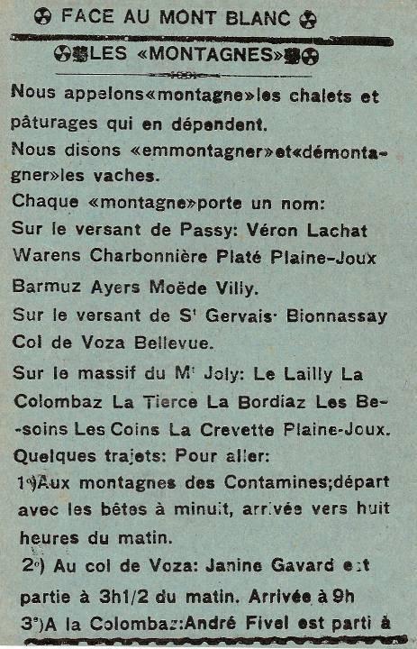 Journal scolaire de Passy, « Face au Mont-Blanc », juin 1939, p. 2 Les « montagnes »
