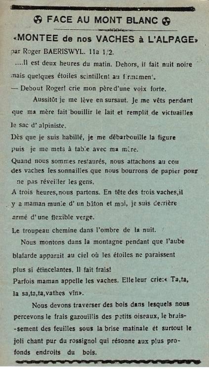 Journal scolaire de Passy, « Face au Mont-Blanc », juin-juillet 1939, p. 5