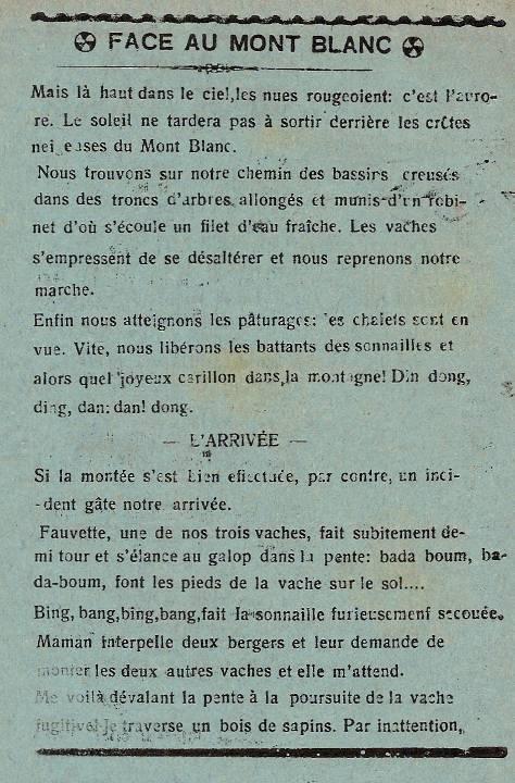 Journal scolaire de Passy, « Face au Mont-Blanc », juin-juillet 1939, p. 6 (suite)