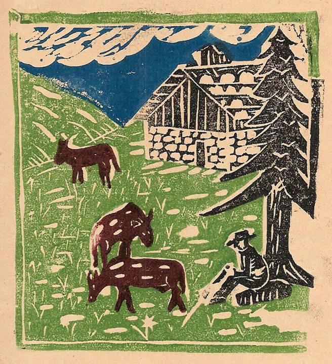 Journal scolaire de Passy, « Face au Mont-Blanc », juin-juillet 1939, p. 8 linogravure sur l'inalpage.