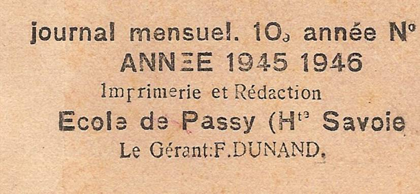 Couverture du journal de Passy « Face au Mont-Blanc », 1945-46