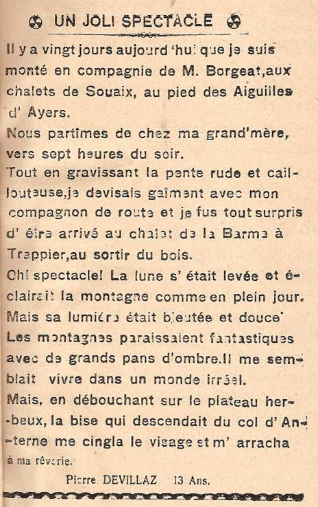 Journal scolaire de Passy « Face au Mont-Blanc », octobre 1945, p.11