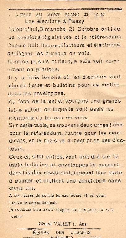 Journal scolaire de Passy « Face au Mont-Blanc », octobre 1945, p.12