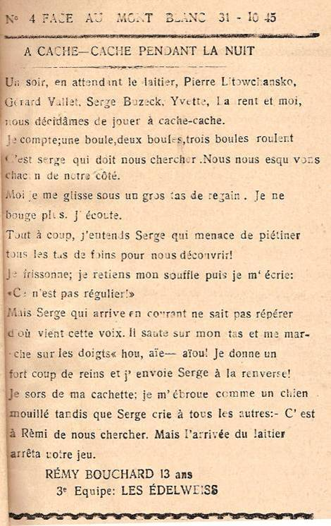 Journal scolaire de Passy « Face au Mont-Blanc », octobre 1945, p.13