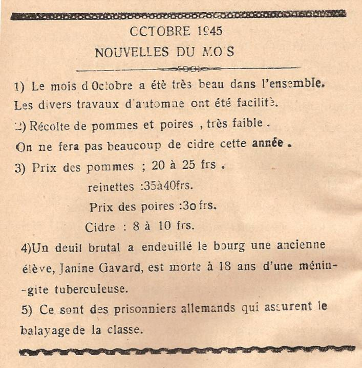 Journal scolaire de Passy « Face au Mont-Blanc », octobre 1945, p.14
