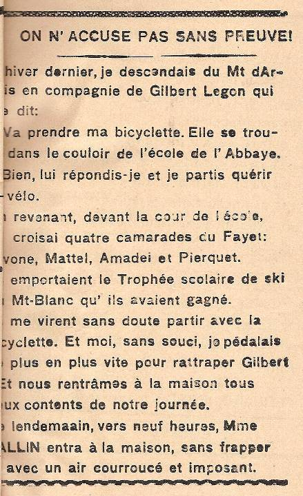 Journal scolaire de Passy « Face au Mont-Blanc », octobre 1945, p.9
