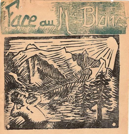 Couverture du journal de Passy « Face au Mont-Blanc » en linogravure, 1946
