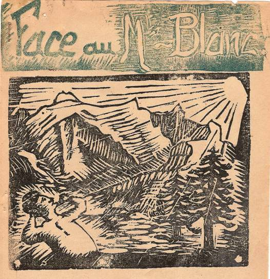 Dessin en linogravure choisi pour le journal scolaire de Passy « Face au Mont-Blanc » en 1936
