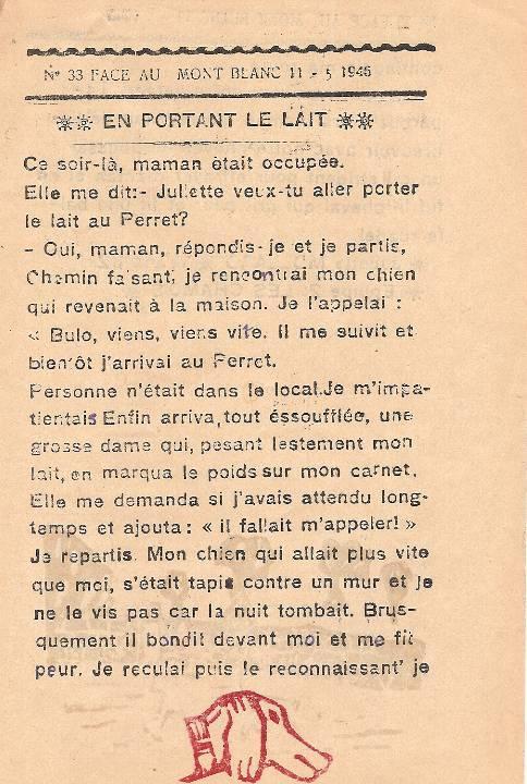 Journal scolaire de Passy « Face au Mont-Blanc », mai-juin 1946, p. 1