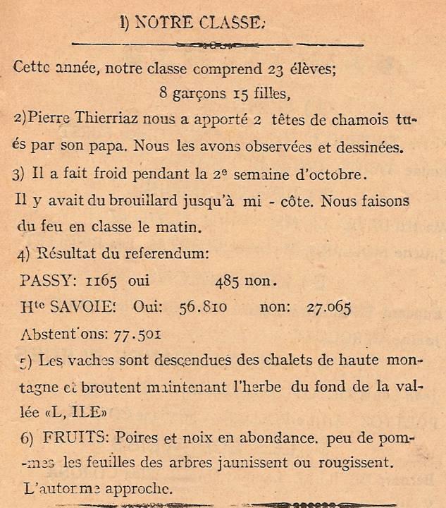 Journal scolaire de Passy, « Face au Mont-Blanc », octobre 1946, p. 1 Notre classe ; les vaches sont descendues