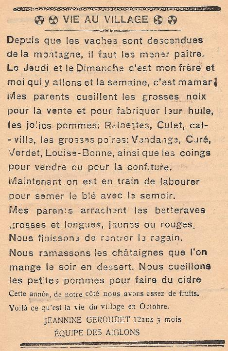 Journal scolaire de Passy, « Face au Mont-Blanc », octobre 1946, p. 3 Vie au village