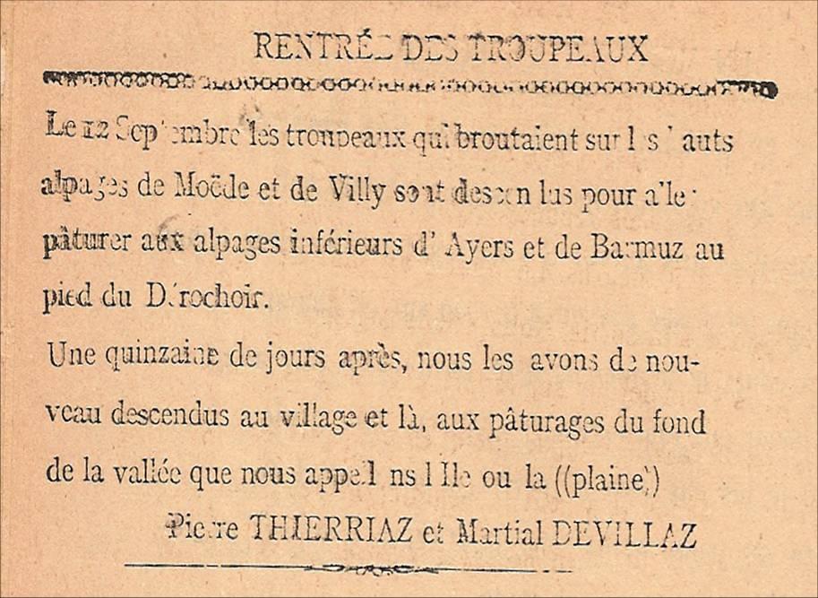 Journal scolaire de Passy, « Face au Mont-Blanc », octobre 1946, p. 6 Rentrée des troupeaux, par Pierre Thierriaz et Martial Devillaz.