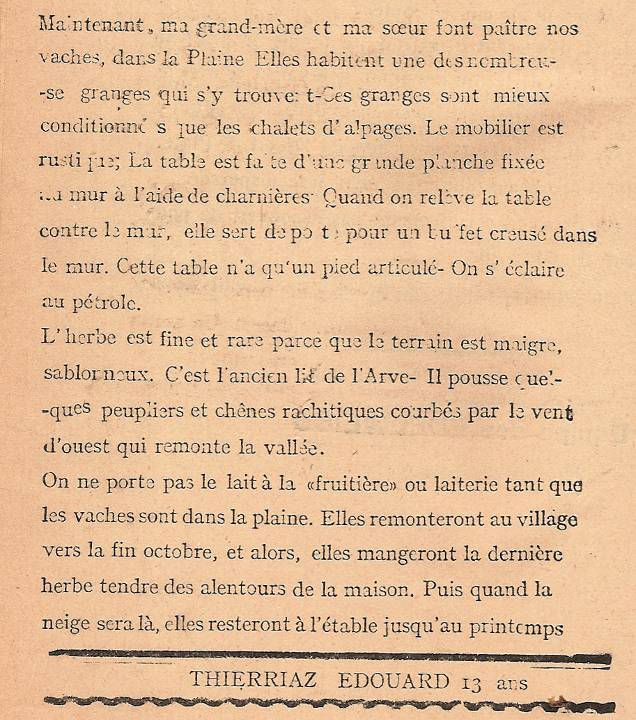 Journal scolaire de Passy, « Face au Mont-Blanc », octobre 1946, p. 6 Les Granges de Passy, par Edouard Thierriaz