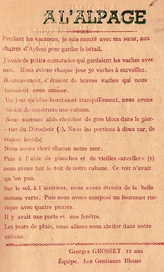Journal scolaire de Passy, « Face au Mont-Blanc », octobre 1947, p. 7, Journées en alpage par Georges Grosset, 11 ans