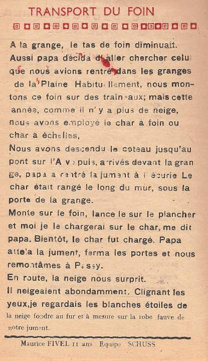 Journal scolaire de Passy, « Face au Mont-Blanc », janvier 1948, p. 8, Le transport du foin, par Maurice Fivel, 11 ans