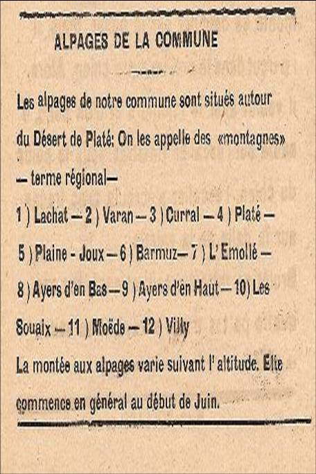 Journal scolaire de Passy, « Face au Mont-Blanc », juin 1948, p. 10 Les alpages de la commune