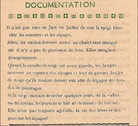 Journal scolaire de Passy, « Face au Mont-Blanc », juin 1948, p. 10 Neige en juin sur les alpages…