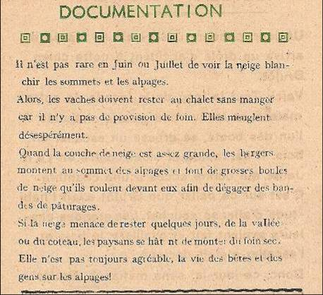 Journal scolaire de Passy, « Face au Mont-Blanc, juin 1948, p. 10 « Documentation »