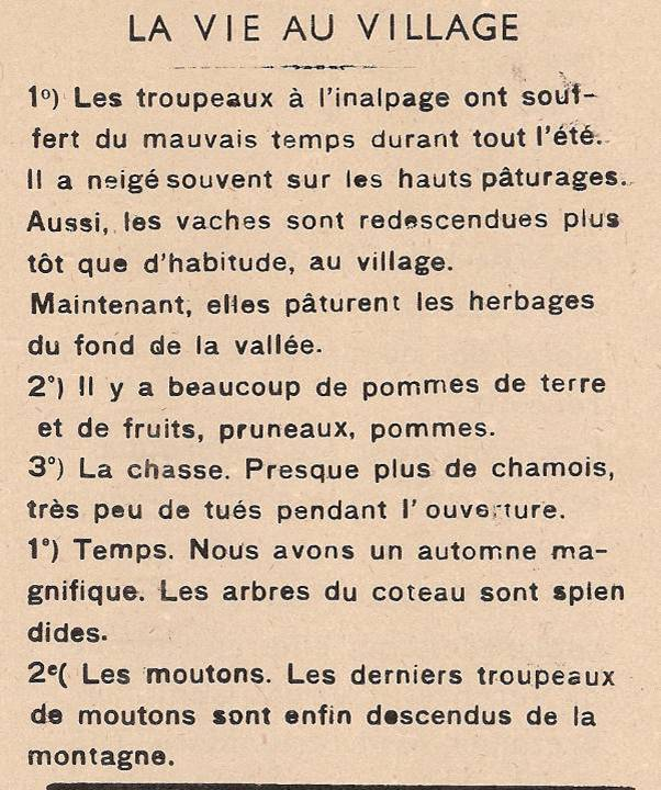 Journal scolaire de Passy, « Face au Mont-Blanc », octobre 1948, p. 2  La vie au village