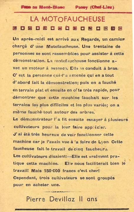 Journal scolaire de Passy, « Face au Mont-Blanc », juin 1949, p. 2 « la motofaucheuse », par Pierre Devillaz