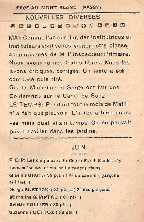 Journal scolaire de Passy « Face au Mont-Blanc », 3ème trimestre 1948-49, p. 5, « Nouvelles diverses »