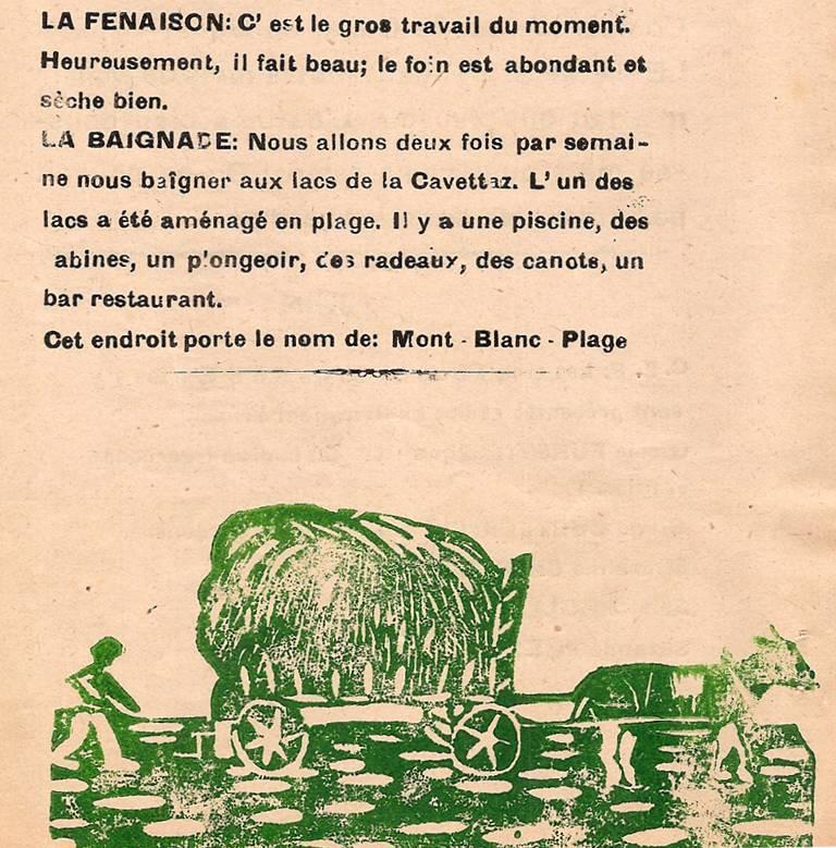 Journal scolaire de Passy, « Face au Mont-Blanc », juin 1949, p. 6 « Fenaison »