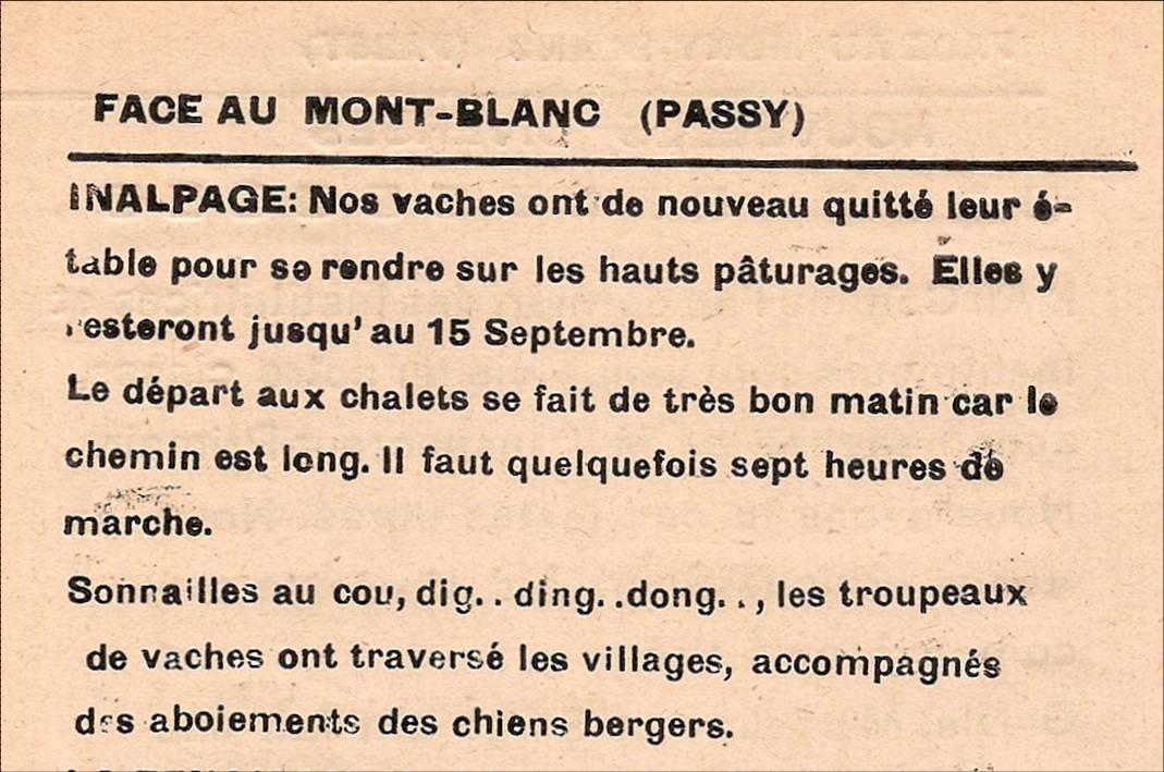 Journal scolaire de Passy, « Face au Mont-Blanc, juin 1949, p. 6
