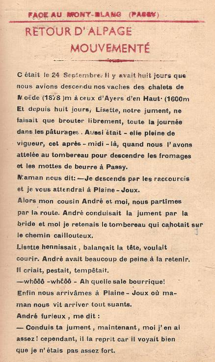 Journal scolaire de Passy, « Face au Mont-Blanc », octobre 1949, p. 5 « Retour d'alpage mouvementé », par  Georges Grosset, 13 ans