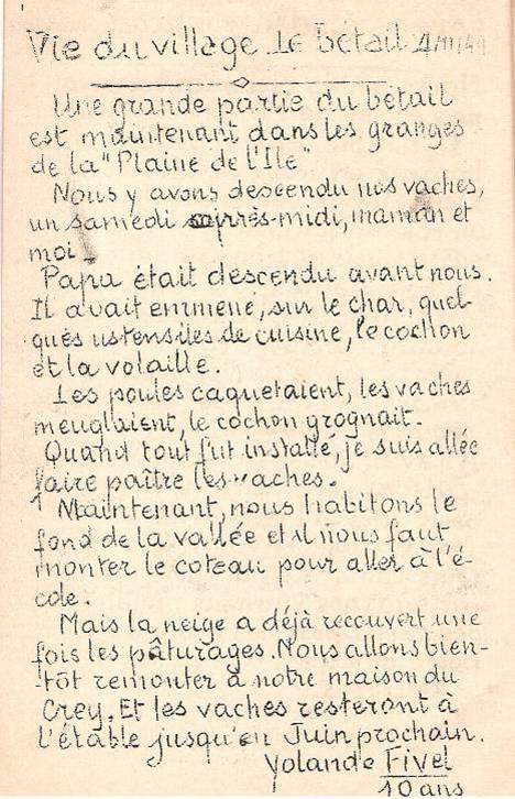 Journal scolaire de Passy, « Face au Mont-Blanc », novembre 1949, p. 2 Vie au village ; le bétail dans les granges de la Plaine, par Yolande Fivel, 10 ans