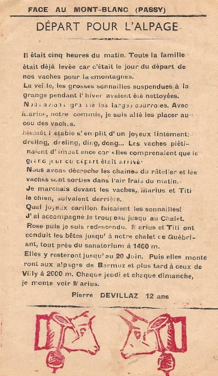 Journal scolaire de Passy, « Face au Mont-Blanc », juin 1950, p. 1 Départ pour l'alpage